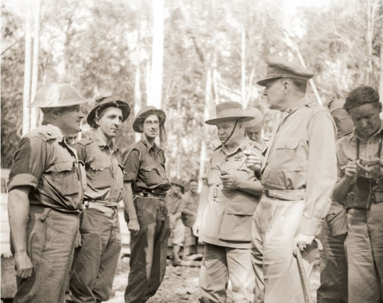LTCOL Ian Hutchison with GENs Blamey and MacArthur